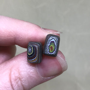 Corvette Fordite Rectangular Stud Earrings