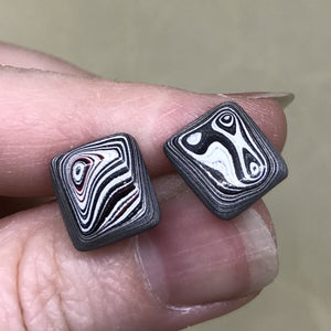 Red/White/Black Detroit Fordite Square Stud Earrings