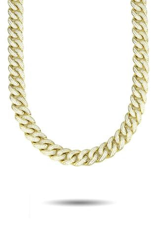 13MM CURVED DIAMOND CUBAN LINK CHAIN *NEW*
