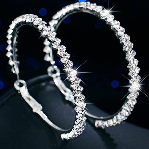 Round Cut 2 Layer Diamond Earrings in White Gold