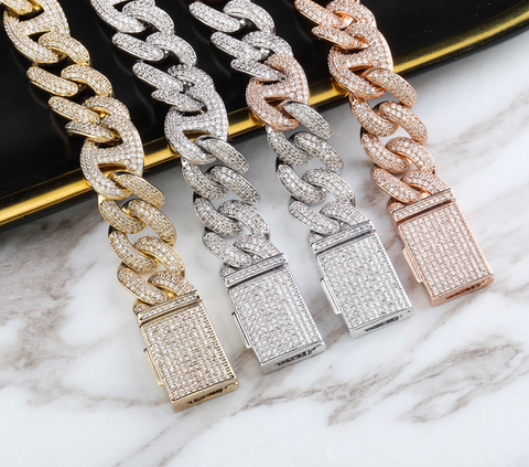 14mm Curved Diamond Miami Box Clasp Cuban Link Chain