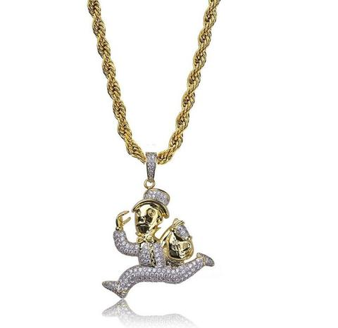 Micro Diamond Secure The Bag Necklace In Yellow Gold