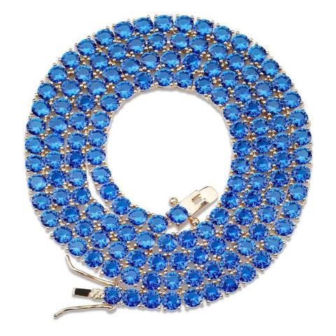 BLUE AMBER TENNIS NECKLACE