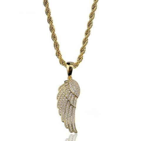 AA+ Paved Angel Wing Necklace