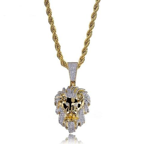 PAVED LION NECKLACE IN YELLOW GOLD *NEW*