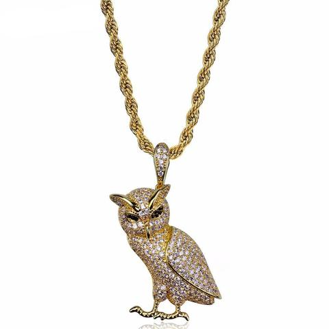 PAVED OVO OWL NECKLACE