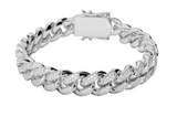 13MM CURVED DIAMOND CUBAN LINK BRACELET WHITE GOLD *NEW*