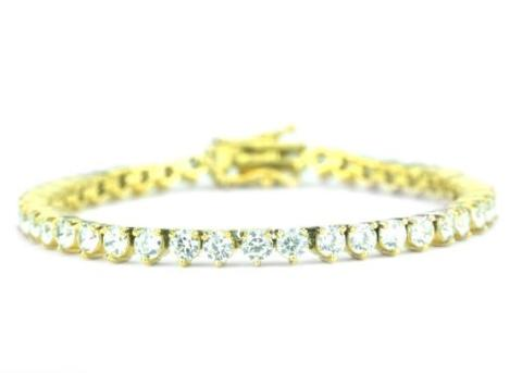4MM DIAMOND 3-PRONGED TENNIS BRACELET IN GOLD