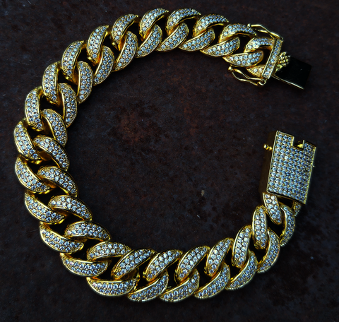 13MM CURVED DIAMOND CUBAN LINK BRACELET *NEW*