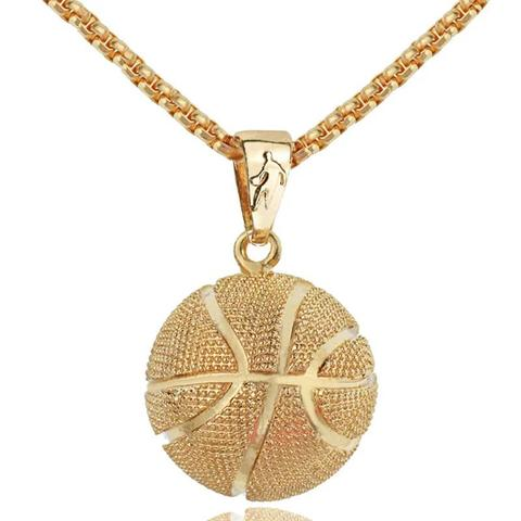 SOLID GOLD BASKETBALL NECKLACE