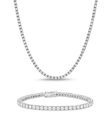 4MM DIAMOND TENNIS NECKLACE & BRACELET BUNDLE IN WHITE GOLD