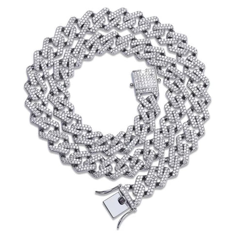 Miami Prong Set Cuban Chain in White Gold