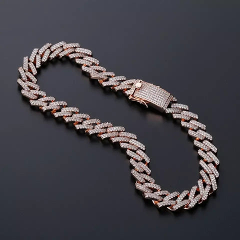 Miami Prong Set Cuban Chain in Rose Gold