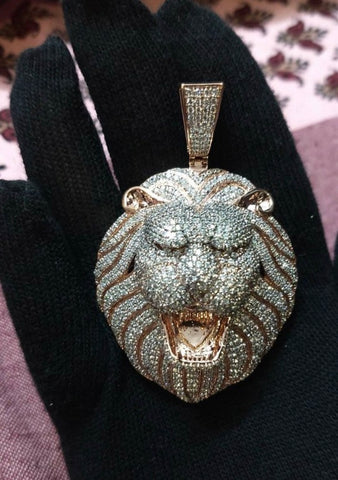 Iced Out Silver Lion Pendant