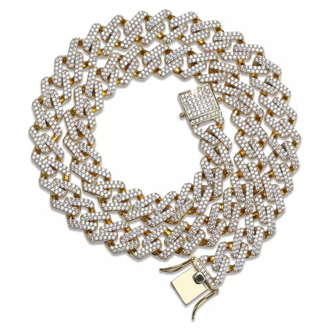 Miami Prong Set Cuban Chain in Yellow Gold