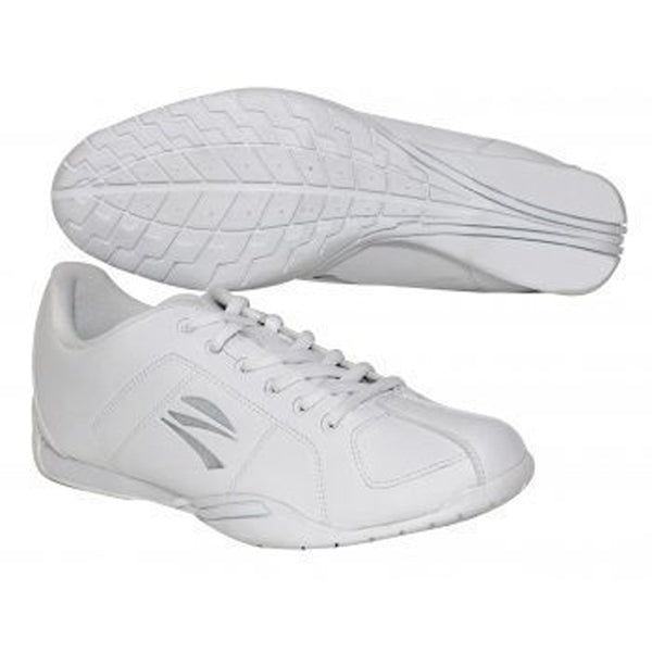 Zephz microlite cheer trainer. All white with silver grey zephz logo.