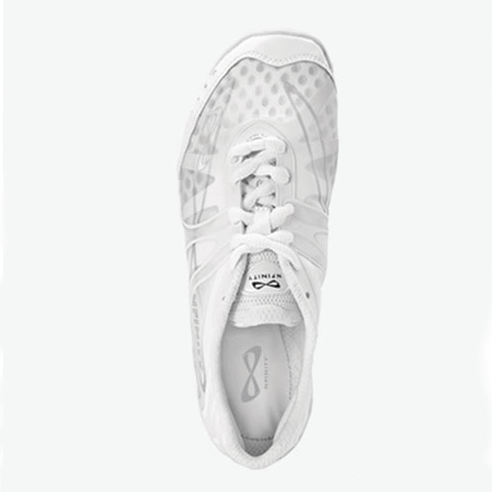 Nfinity Vengeance cheer shoes, photographed from above.