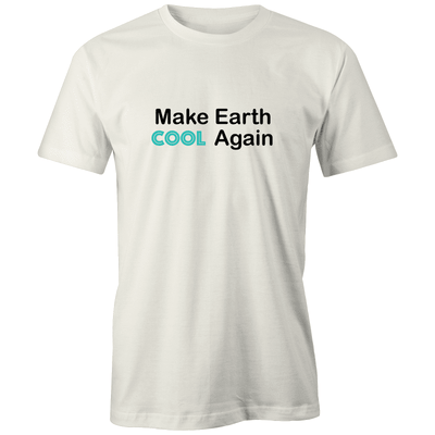 Make Earth Cool Again Organic Tee - Evolve Travel Goods Adventure Towel - Sustainable, Made From Recycled Plastic and Sand Free