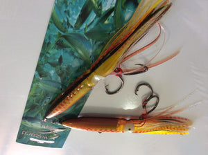 Daiwa /Wizard squid lures. Lead inserts fully rigged 6 pcs 3 sizes