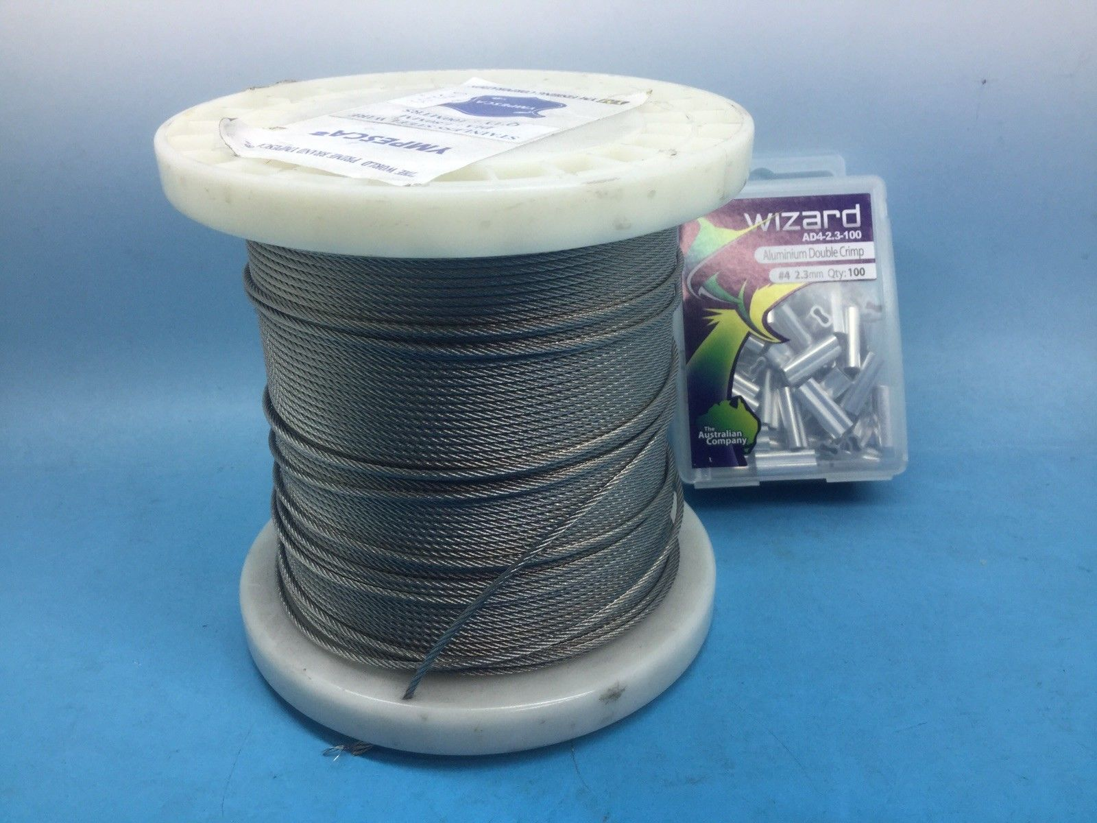 Stainless Steel 7 X 7 Wire X 100 M Plus Crimps