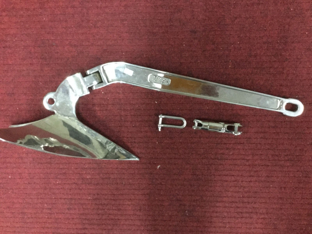 Anchor plough s/s 7 Kg. 316 l premium suit. 5-6 m boat