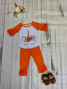 Pumpkin Unicorn Ruffle Sleeve Top and Ruffle Pant Set