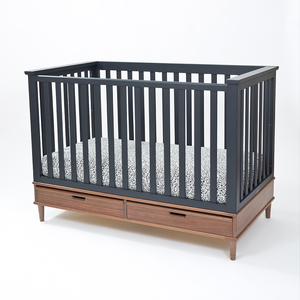 Black Crib on Walnut Base