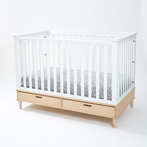 White Crib on Maple Base