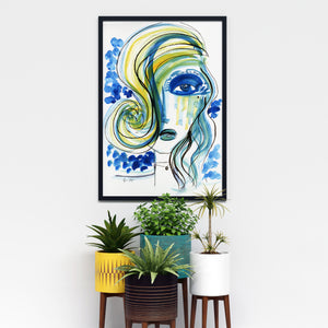 Unique Blue Wall Art with Blue Girl in the hallway by Talia Zoref