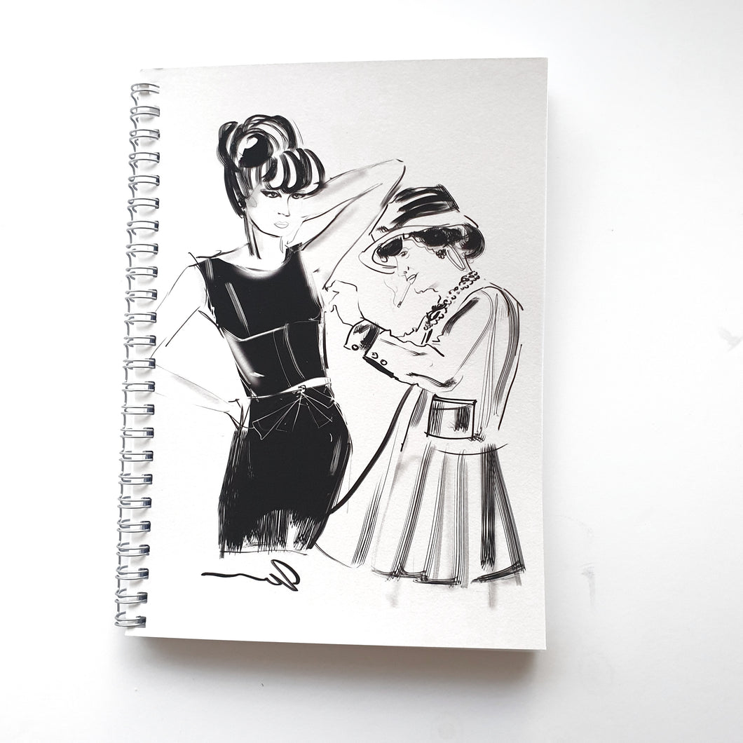 Ruled Notebook/Journal with Coco Chanel doing a fitting by Talia Zoref