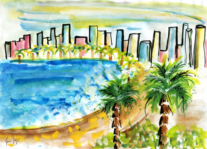 Colorful coastline view of Tel Aviv from Jaffa - Travel painting by Talia Zoref