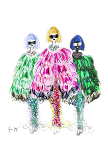 Painting of Anna Wintour  in 3 different Chanel capes-pink, dark green and emerald green by Talia Zoref