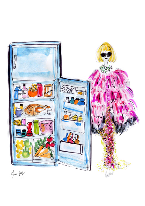 Full fridge with Anna Wintour in her pink Met Gala outfit, her glasses and necklace - digital art by Talia Zoref