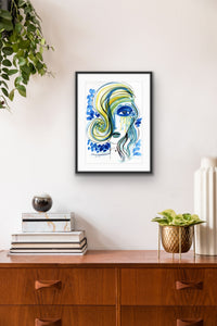 Blue Girl artwork in the Study by Talia Zoref