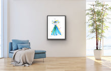 Relax with Blue Eye artwork next to sofa by Talia Zoref