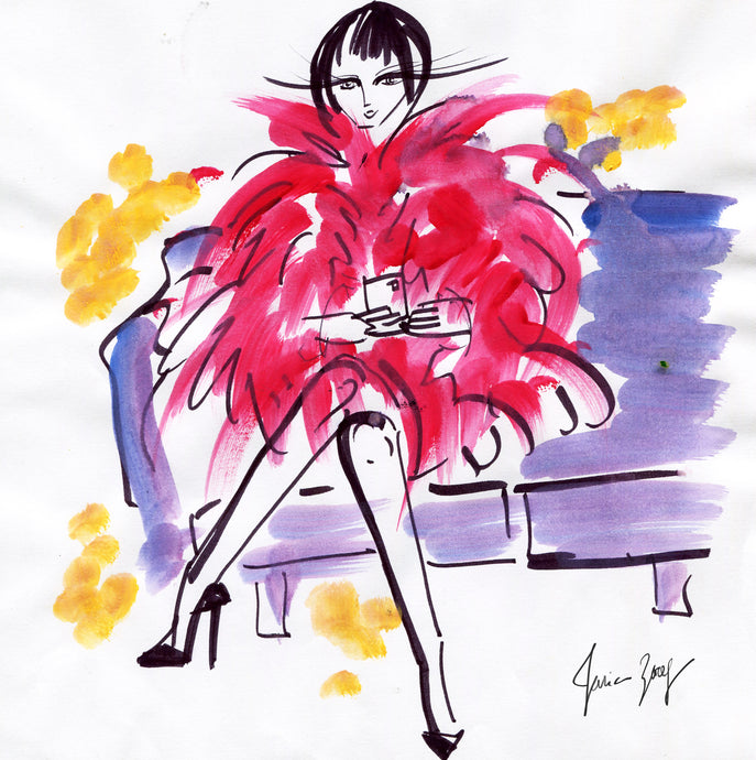 Fashion painting of Chic lady in a pink feathery couture dress feeling good by Talia Zoref
