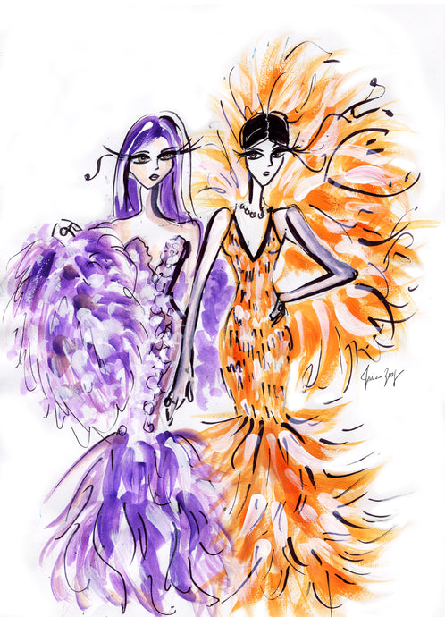 Artwork of unforgettable Red Carpet look of Kylie and Kendall at Met Gala 2019 by Talia Zoref