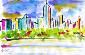 New York Skyline in colorful Spring - Travel artwork by Talia Zoref