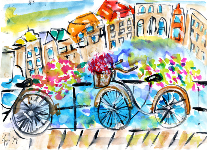 Vibrant Amsterdam in Spring Travel Art by Talia Zoref