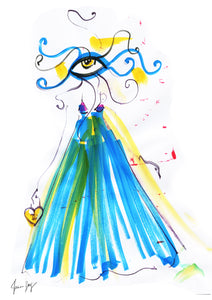 An artwork with an Eye wearing a spring blue, yellow and pink flowing dress-  Eyes of Fashion by Talia Zoref