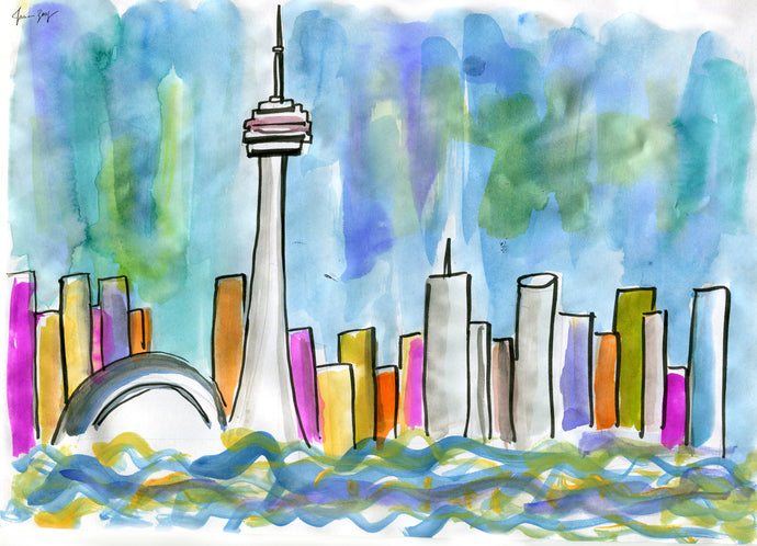 Toronto Skyline from Lake Ontario – A Travel Painting by Talia Zoref