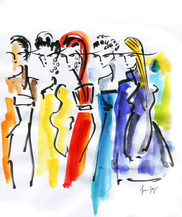 Models in colorful vibrant fashion moment captured backstage-Fashion Artwork by Talia Zoref