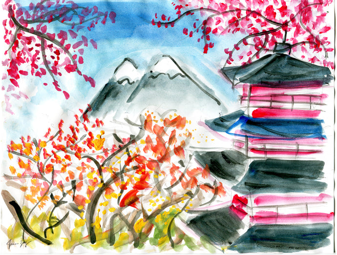 Sakura Blossoms in Japan – A Travel Painting by Talia Zoref
