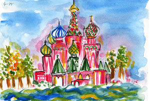 A View of Moscow – A Travel Painting by Talia Zoref