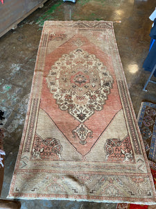 Ela, vintage Turkish Oushak 3'8 x 8'6 runner