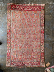 Lara, vintage a Turkish rug with pink 2'7 x 4'6
