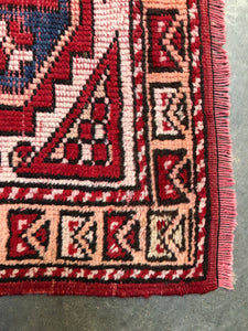 Lemuel, vintage Persian rug with madder red, 2'7 x 3'4