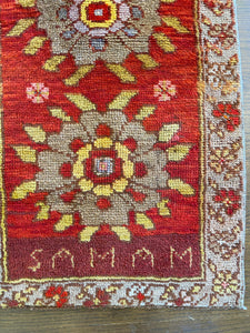 Samam, vintage Turkish rug with a name and date, 2x4