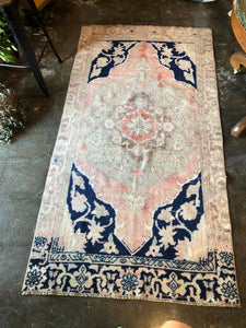 Karina, vintage Turkish oushak with indigo and blush