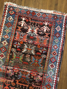 Basir, vintage rug with brilliant colors, 3'5 x 5'2